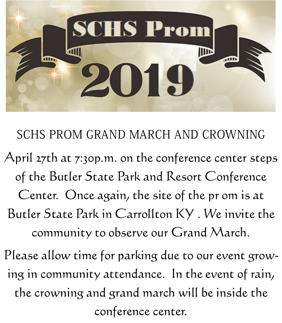 2019 Prom April 27 at 730 pm at Butler Park