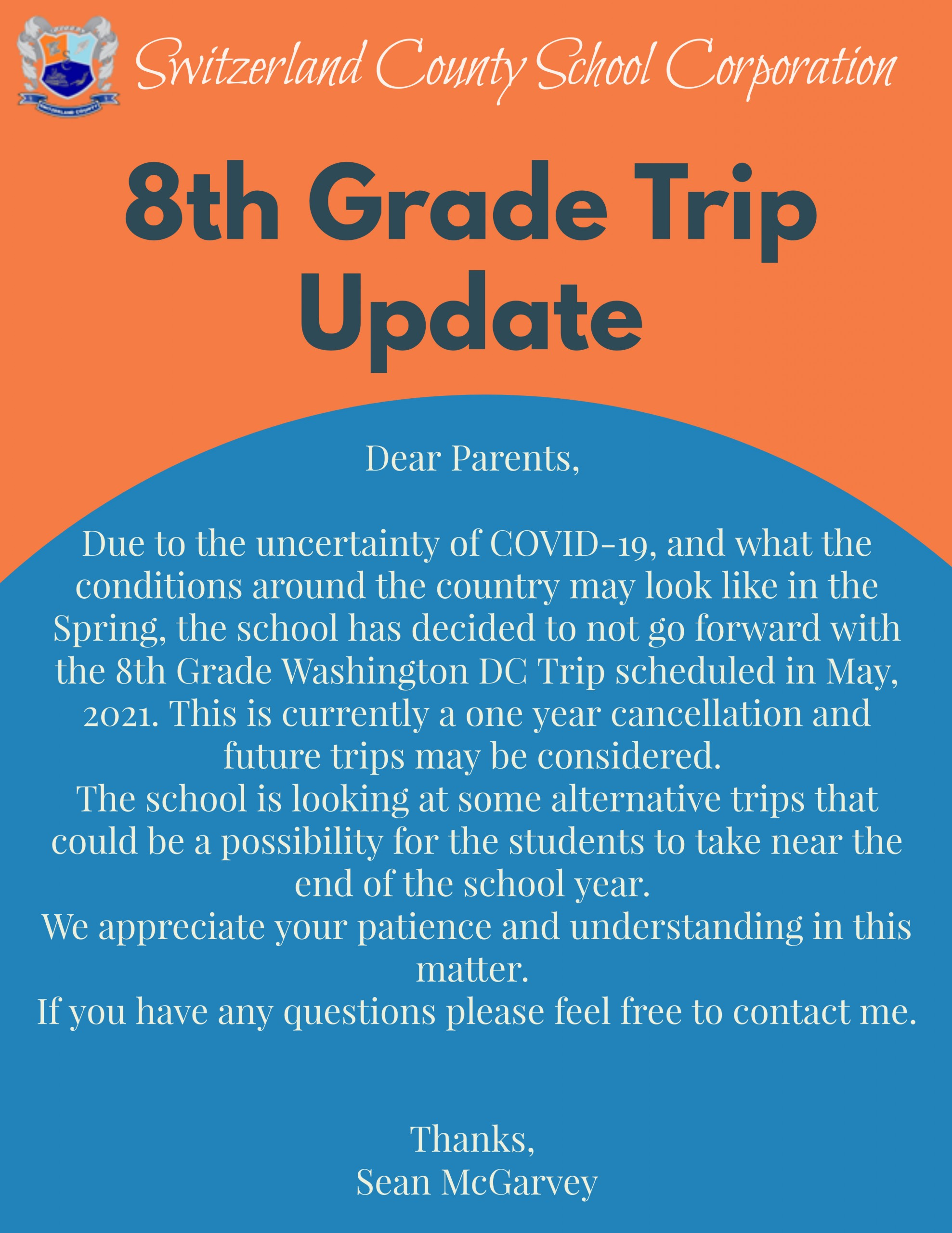 8th grade trip Announcement