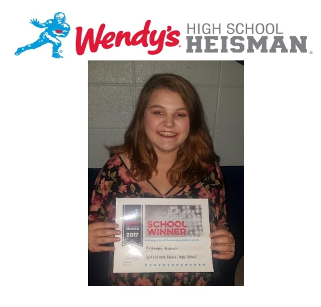 Brittany Muench- School Winner of the Wendy's High School Heisman Award!